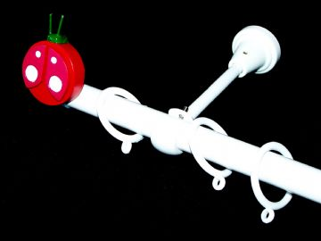 1.2m - 2.1m Designer Extendable Curtain Pole with LADYBIRD Finials